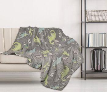TC275, Dino Print Glow in The Dark Blanket £4.95.  pk5...