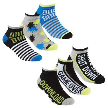 42B709, Boys 3 in a Pack Bamboo Trainer Liner Socks -Game Slogan £1.35.  24pks...