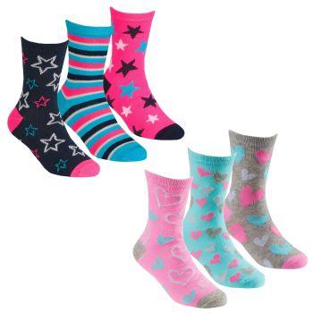 43B680, Girls 3 in a pack cotton rich design socks £1.25.  24pks...