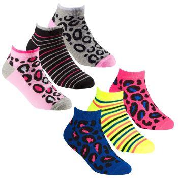 43B689, Girls 3 in a Pack Trainer Liner Design Socks £1.20.  24pks...