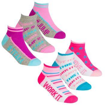 43B690, Girls 3 in a Pack Trainer Liner Design Socks £1.20.  24pks...