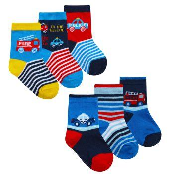 44B915, Baby Boys 3 in a pack Cotton Rich Design Socks £1.20.   12pks...