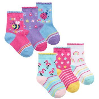 44B923, Baby Girls 3 in a pack Cotton Rich Design Socks £1.20.   12pks...