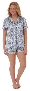 """*IN28691, """"Indigo Sky"""" Ladies Animal Print Satin Shortie Pyjama...."""