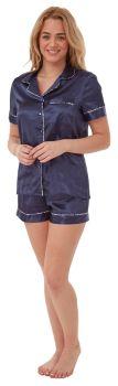 "*IN29031, ""Indigo Sky"" Ladies Satin Shortie Pyjama - Navy..."