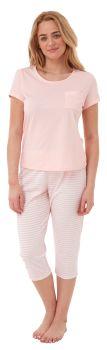 "*IN28197, ""Indigo Sky"" Ladies Jersey Striped Pyjama- Pink..."