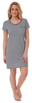 """*IN28193, """"Indigo Sky"""" Ladies Jersey Striped Nightshirt - Navy...."""