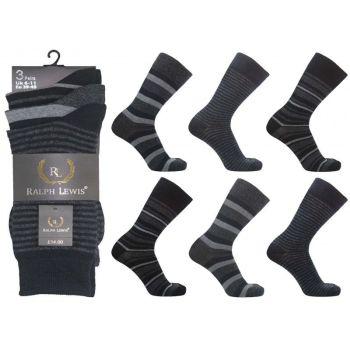 RL5004, Mens dark stripe design socks, 1 dozen..