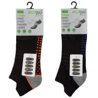 40B574, Mens 5 Pack Mesh Insert Trainer Socks Dash Design £2.10.  12pks...