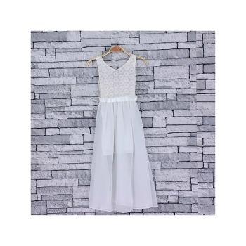 *Code:756WHITE, Girls Maxi Dress With Detail As Shown £6.95.  pk5....