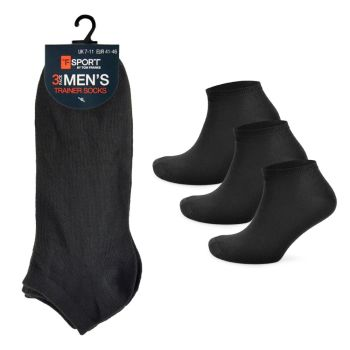 SK078, Mens plain black trainer socks £2.75 a dozen.  10 dozen......