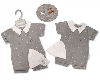 BIS2383, Baby Boys Romper with Hat - Dog £4.95.  PK6...