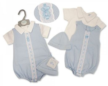BIS2381, Baby Boys 2 Pieces Romper Set with Lace and Hat £8.95.  PK6...