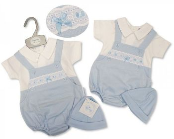 BIS2380, Baby Boys 2 Pieces Dungaree Set with Lace and Hat £7.95.  PK6...