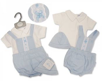 BIS2379, Baby Boys 2 Pieces Dungaree Set with Lace and Hat £7.95.  PK6...