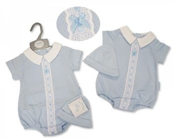 BIS2378, Baby Boys Romper with Lace and Hat £5.95.   PK6....
