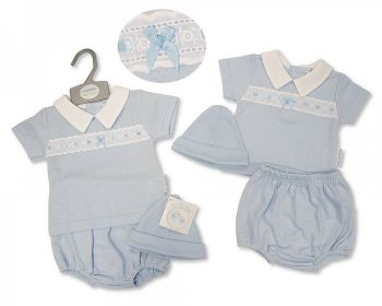 BIS2377, Baby Boys 2 Pieces Set with Lace and Hat £6.95.   PK6....