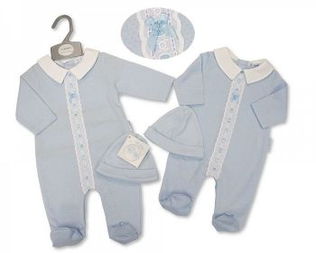 BIS2376, Baby Boys All in One with Lace and Hat £6.95.   PK6....