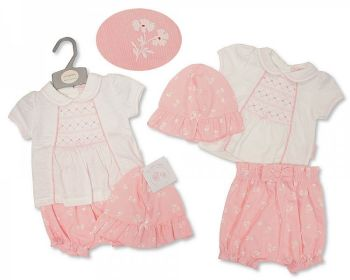 BIS2374, Baby Girls 2 Pieces Short Set with Smocking and Hat - Flowers £8.95.  PK6...