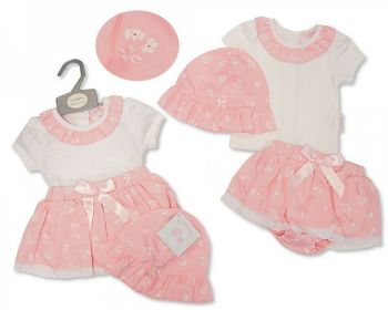 BIS2373, Baby Girls 2 Pieces Dress Set with Lace, Bow and Hat - Flowers £8.95.   PK6...