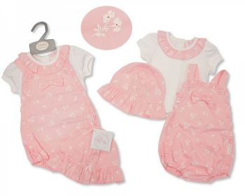 BIS2371, Baby Girls 2 Pieces Dungaree Romper Set with Hat - Flowers £8.95.  PK6..