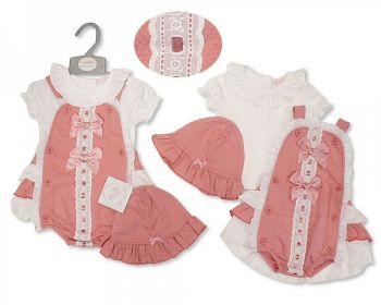 BIS2370, Baby Girls 2 Pieces Set with Anglaise Lace, Bows and Hat £9.95.  PK6...