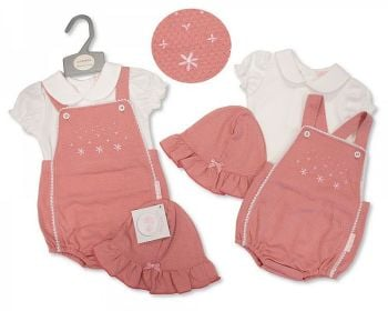BIS2369,  Baby Girls 2 Pieces Dungaree Set with Hat £7.95.  PK6...