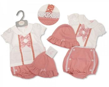 BIS2367, Baby Girls 2 Pieces Set with Lace, Bows and Hat £6.95.   PK6...