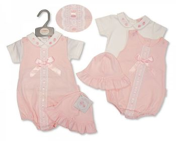 BIS2365, Baby Girls 2 Pieces Romper Set with Lace, Bow and Hat - Strawberry £8.95.   PK6...