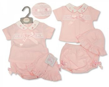 BIS2364, Baby Girls 2 Pieces Set with Lace, Bow and Hat - Strawberry £7.95.  PK6...