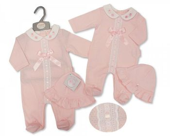BIS2363, Baby Girls All in One with Lace, Bow and Hat - Strawberry £6.95.  PK6...