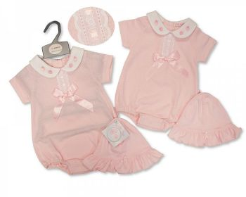 BIS2362, Baby Girls Romper with Lace, Bow and Hat - Strawberry £5.95.  PK6...