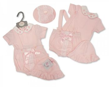 BIS2361, Baby Girls 2 Pieces Dungaree Set with Lace, Bow and Hat - Strawberry £7.95.  PK6...
