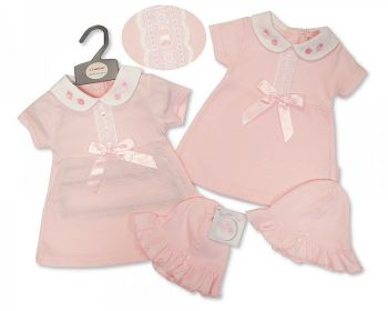 BIS2360, Baby Girls Dress with Lace, Bow and Hat - Strawberry £4.95.  PK6...