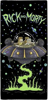 """V471, Official """"Rick and Morty""""""""UFO Spaceship"""" Beach Towel £5.50.  pk6.."""