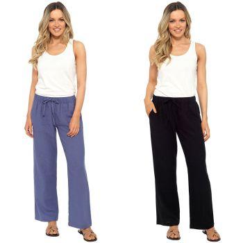 *LN1140, Ladies Elasticated Linen Trouser £7.95.  pk36...