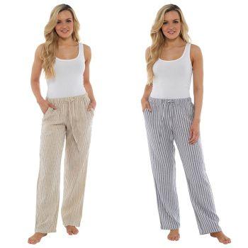 *LN900, Ladies Elasticated Waist Striped Linen Trouser £8.35.  pk36...
