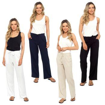 *LN562, Ladies Elasticated Waist Linen Trouser £7.35.  pk36...