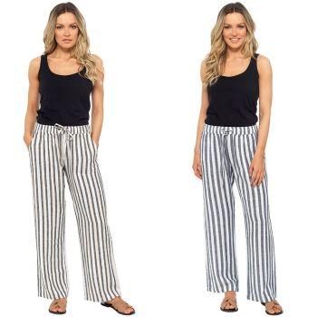 *LN1204, Ladies Elasticated Striped Linen Trouser £8.75.  pk36...