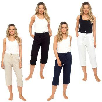 *LN563, Ladies Elasticated Waist 3/4 Length Linen Trouser £6.75.   pk36....