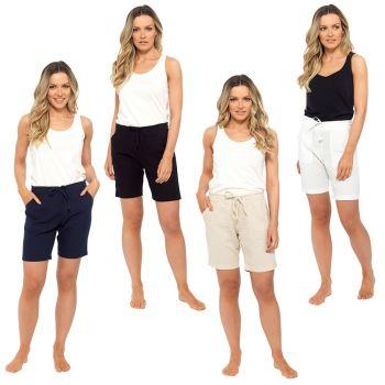 *LN564, Ladies Elasticated Waist Linen Shorts £5.60.  pk36...