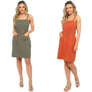 *LN1196, Ladies Belted Linen Sun Dress £9.00.   pk20....