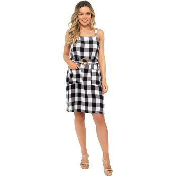 *LN1139, Ladies Belted Linen Sun Dress in Gingham Check £9.95.  pk20....
