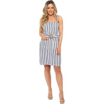 *LN1197, Ladies Belted Linen Sundress in Denim Stripe £9.95.   pk20...