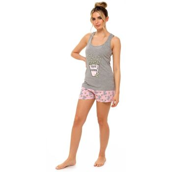*LN1308, Ladies Jersey Popcorn Printed Vest & Short £6.00.  pk6...