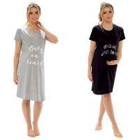 *LN1357, Ladies Jersey Maternity Slogan Print Nightie £4.20.   pk6...