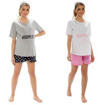 *LN1359, Ladies Maternity Printed Jersey Pyjama Short Set £6.90.   pk6...