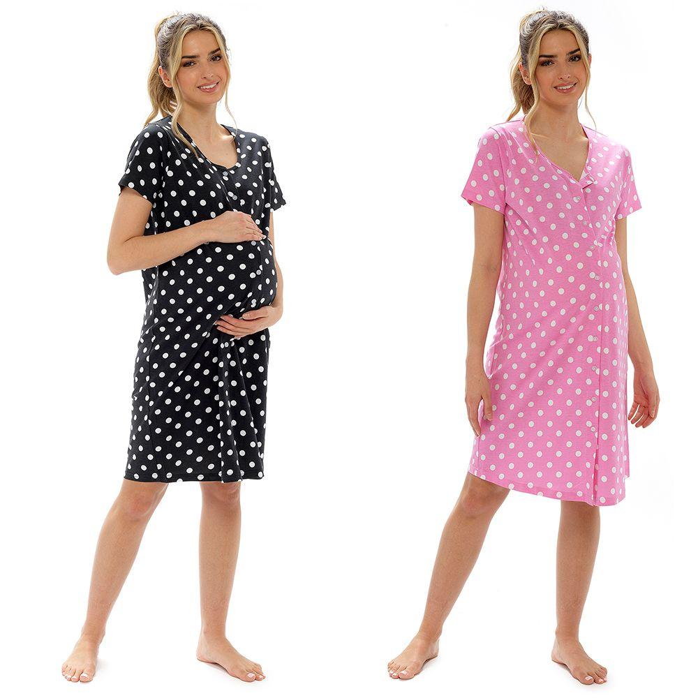 *LN1360, Ladies Maternity Polka Dot Button Thru Nighty £5.35.   pk12...