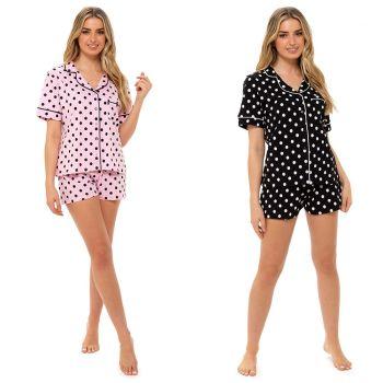 *LN1346, Ladies Jersey Button Thru Pyjama Short Set in Polka Dot Print £7.80.  pk6...