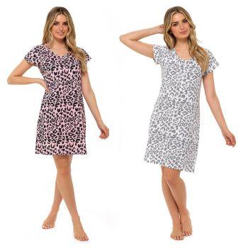 *LN1391, Ladies Short Sleeve Leopard Print Jersey Nightie £3.90.  pk12...